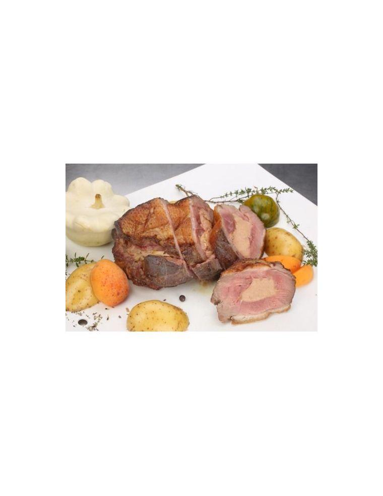 Rôti de canard au foie gras frais