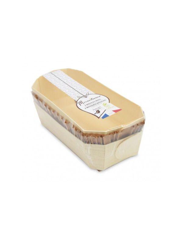 Moule à cake en bois avec caissettes de cuisson
