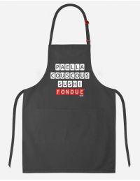 """Tablier de cuisine avec inscription """"Fondue"""""""