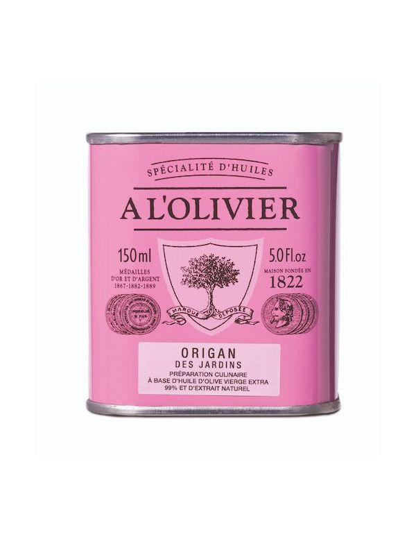 Huile d'olive à l'origan des Jardins, bidon de 150 ml