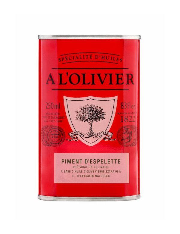 Huile d'olive au piment d'Espelette, bidon de 250 ml