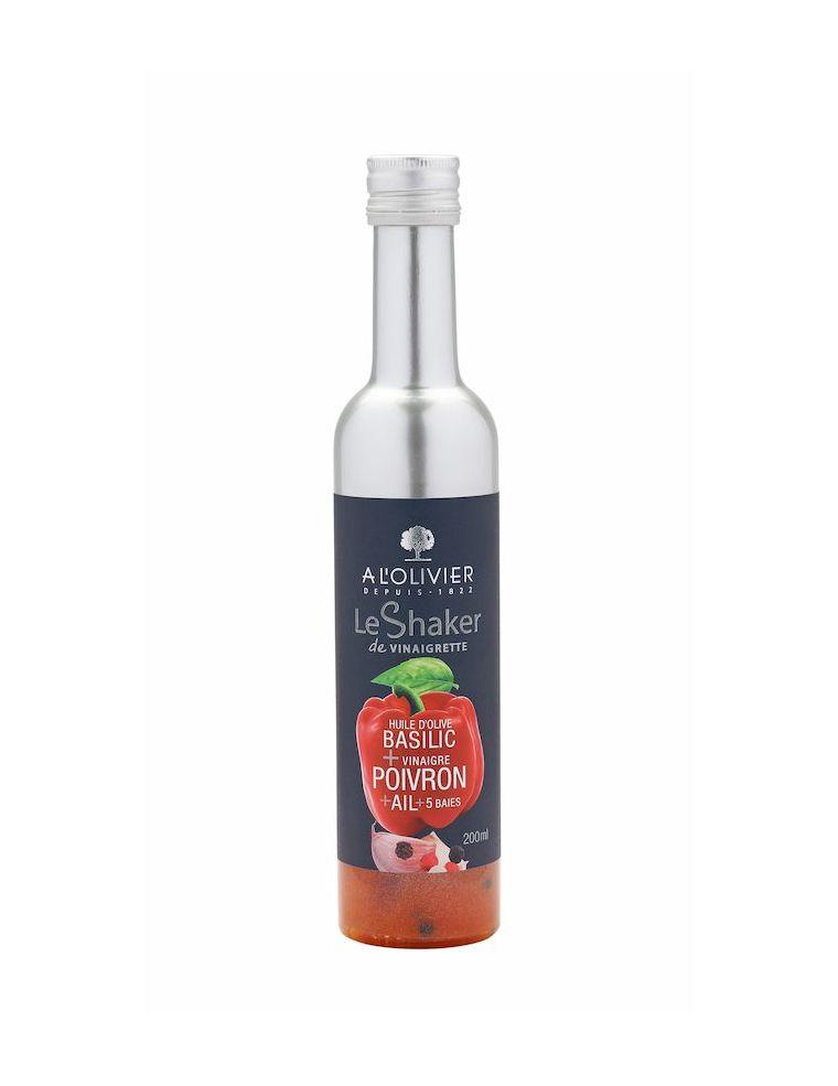 Sauce Vinaigrette Huile d'olive basilic vinaigre pulpe de poivron ail et 5 baies