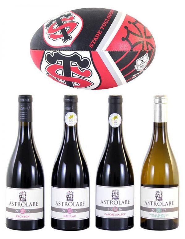 Coffret Cadeau 4 Bouteilles de vin + 1 Ballon de rugby