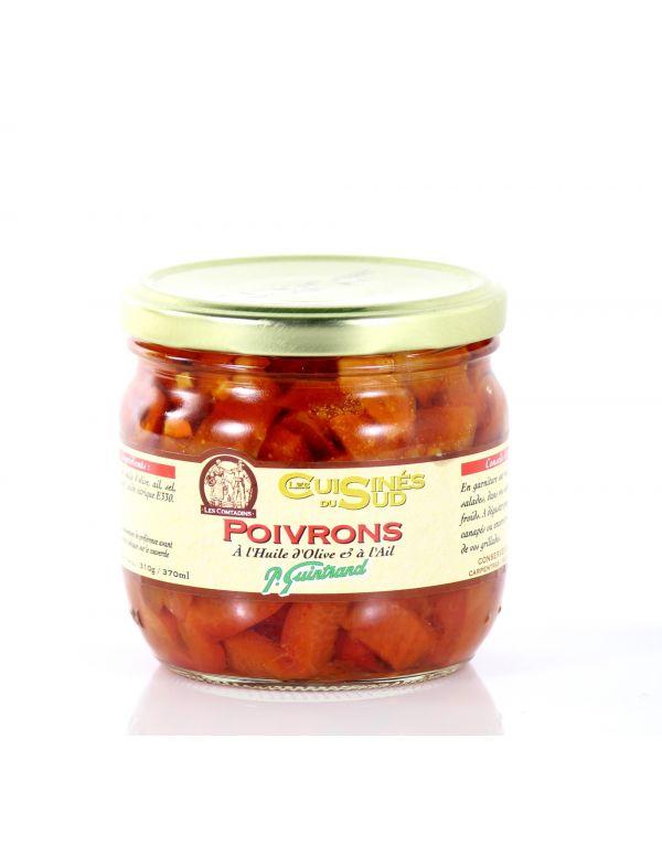 Poivrons à l'huile d'olive et à l'ail, bocal de 330 g