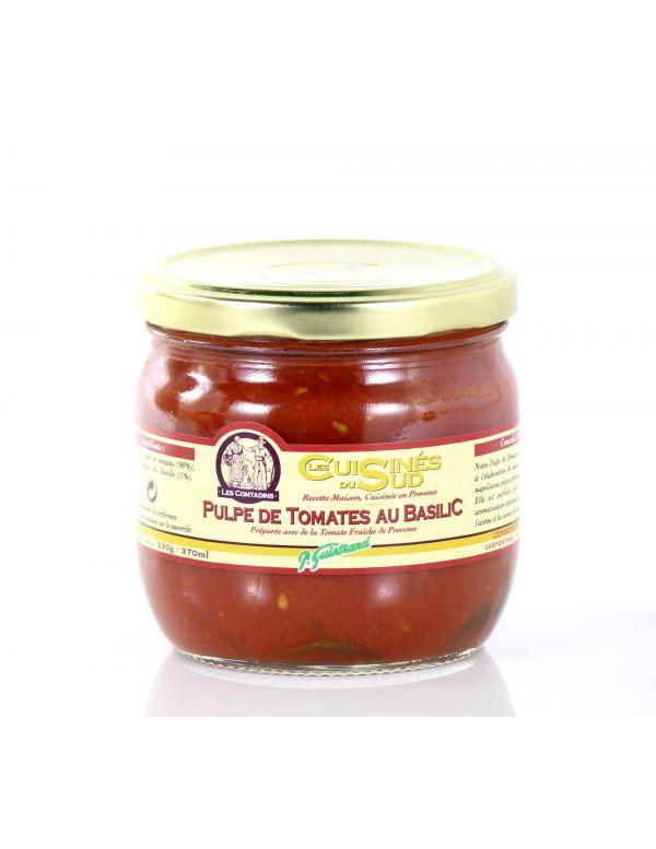 Pulpe de tomates au basilic, bocal de 330 g