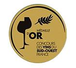 Médaille d'or concours des vins du Sud-Ouest