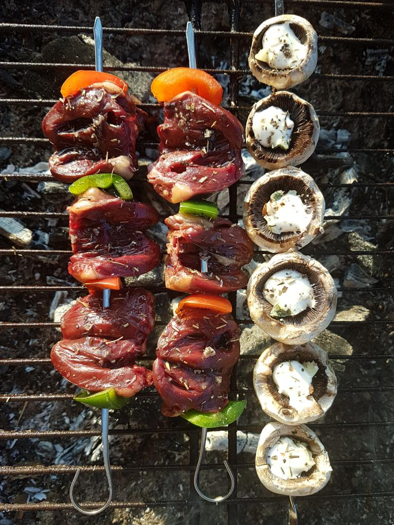 brochette de coeurs de canard au barbecue
